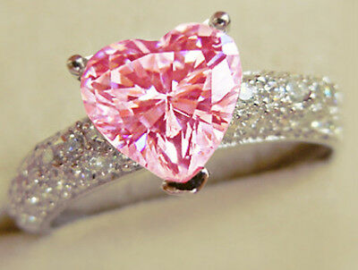 Fashion 925 silver Filled Pink Sapphire  Birthstone Engagement Wedding Ring Gift
