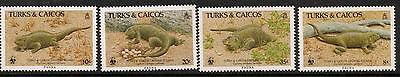 Turks & Caicos Is. Sg888/91 1986 Iguana  Mnh