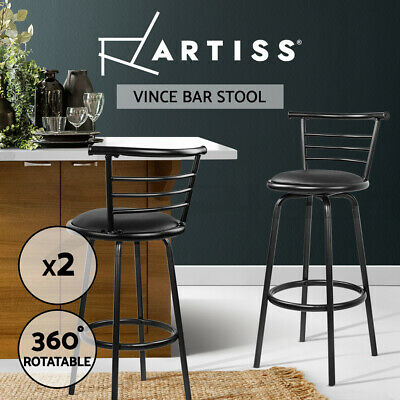 2x Bar Stools PU Leather Barstool Swivel Backrest Kitchen Chairs Black 5033