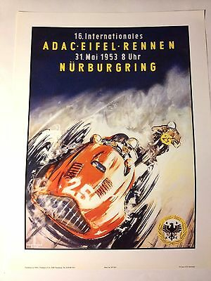 Nurburgring ADAC Rennen 1953 Automobile/Motorcycle Race Poster /Re print F1/F2