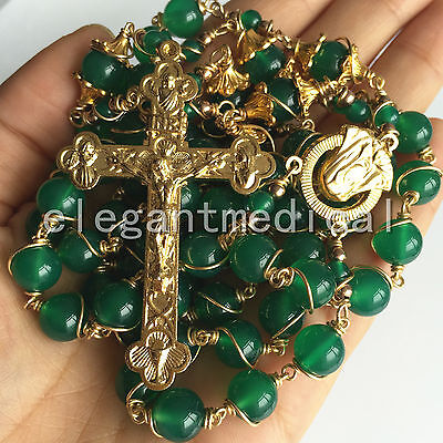 XL Gold Green agate Jade Beads catholic rosary crucifix cross necklace box GIFTS
