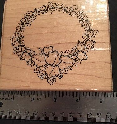 XLG Flower Rubber Stamp Wood Vintage Ivy Wreath Mosaic Art Card-Making Scrapbook