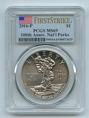 2016 P $1 Silver 100th Anniversary Nat Park Commemorative PCGS MS69 First Strike