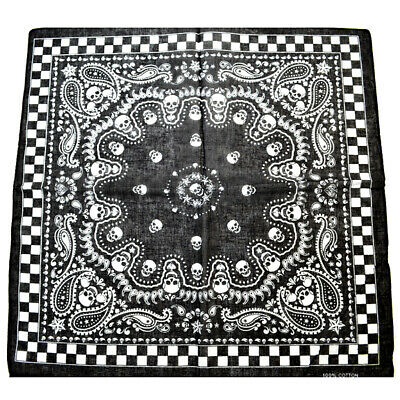 TRIXES Black Bandana Double-sided Skull Design with Chequered Boarder Head Scarf