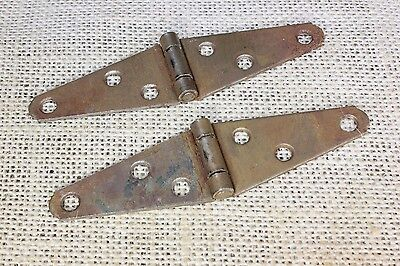 """2 light strap 4 x 1"""" hinges old cabinet door tool box vintage USA MADE rustic"""