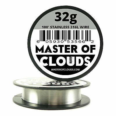 SS 316L - 100 ft. 32 Gauge AWG Stainless Steel Resistance Wire 0.20 mm 32g 100'