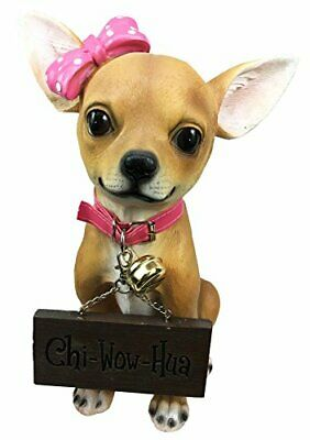 Adorable Pink Ribbon Teacup Chihuahua Dog Large Figurine W/ Welcome Sign Statue