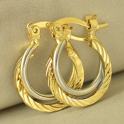 24K Yellow Gold Filled Womens Silver Wire Hoop Crossed Earrings Girls Ear Stud