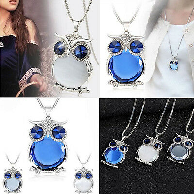 New Owl Rhinestone Crystal Pendant Animal Long Sweater Chain Necklace Jewelry E