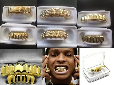 Or Grillz 24k plaqué Bling hip hop Dents gangster neuf ice bouche