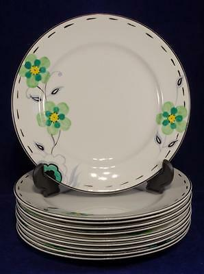 10 x Art Deco Floral Side Plates by J.H. Weatherby & Sons C.1936
