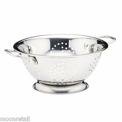 24cm Stainless Steel COLANDER Strainer Double Handle Pasta Spaghetti Food Sieve
