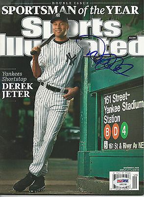 DEREK JETER (Yankees) Signed SPORTSMAN OF THE YEAR SI with PSA LOA (NO Label)