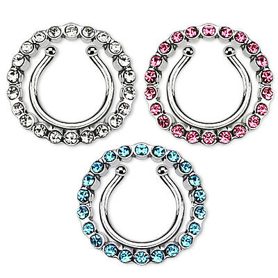 Pair of Circle Multi Paved CZ Clip On Non Piercing Nipple Rings Shields
