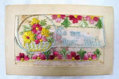 Original Ww1 First World War Embroidered Silk Insert Postcard - To My Dear Wife