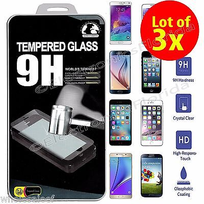 Lot of 3x TEMPERED REAL GLASS PREMIUM SCREEN Protector For iPhone/Galaxy/Note