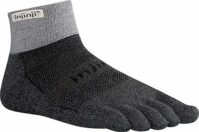 Injinji Performance 2.0 Trail Midweight Mini-Crew CoolMax Toe Socks-Granite-Med