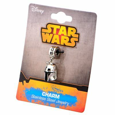 Officual Stainless Steel Star Wars Boba Fett Helmet Dangle Bracelet Charm
