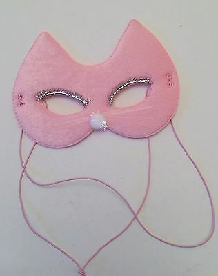 Girls Pink Fabric Cat Mask, Fancy Dress, Children's birthday Party, Dressing Up