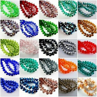 50pcs/80pcs Rondelle Crystal Glass Loose Spacer Beads For Craft 4mm,6mm,8mm