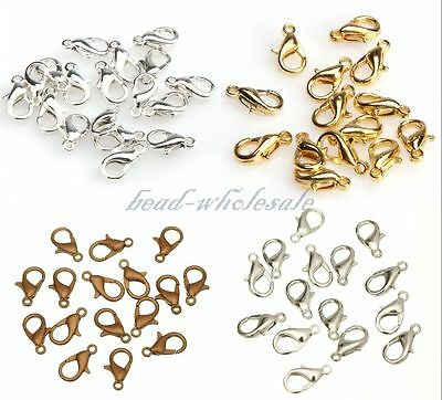 20pcs Lobster Claw Clasp Silver Plated/Golden/Dark Silver/Copper Metal 10/12mm
