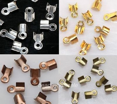 500PCS Fold Over End Cord Findings Diy Crimp Bead Cap 6/9mm