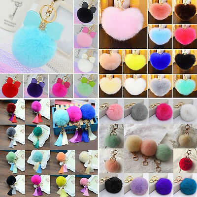 Charm Tassel Rabbit Fur Ball PomPom Cell Phone Car Pendant Handbag Keychain Ring