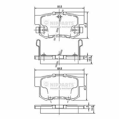 To Clear - New Oe Quality Nipparts - Rear - Brake Pads Set - J3614008