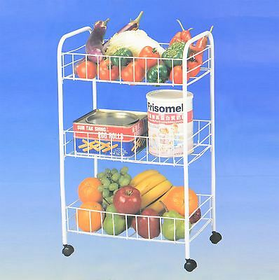3 Tier White Metal Kitchen Storage Vegetable Trolley Cart Fruit Drawer Wheels