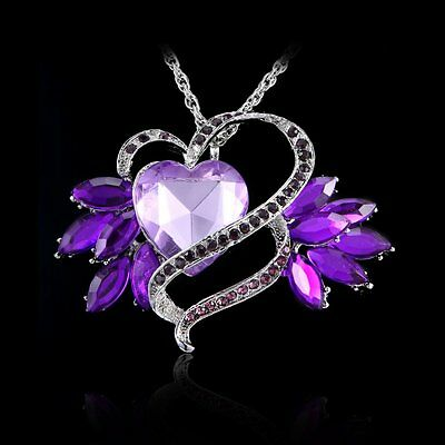 Handmade Women's Heart Wing Crystal Necklace Pandent Long Sweater Chain Jewelry
