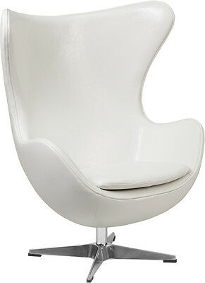 Flash Furniture White Leather Egg Chair with Tilt-Lock Mechanism, Set of 4