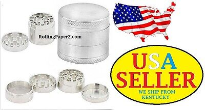 4 PART Magnetic Silver Metal Tobacco Crusher Hand Muller Herb Spice Grinder