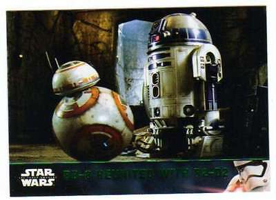 2016 Topps Star Wars Force Awakens Series 2 Green #73 BB-8 Reunited With R2-D2