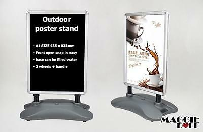 A1 outdoor Shop Poster Display snap board Sign Holder double sided wheel handle