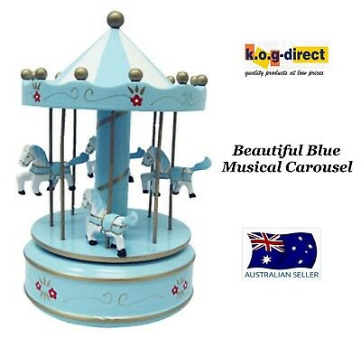 Musical Carousel Painted Wood Merry Go Round 4 Horses Large Blue 27Cm Rmo947
