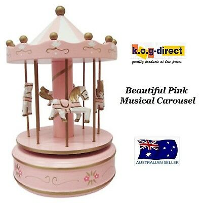 Musical Carousel Painted Wood Merry Go Round 4 Horses Large Pink 27Cm Rmo946