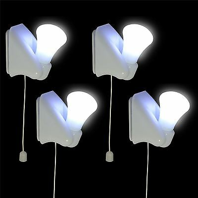 4x Stick On LED Light Night Lamp Bulbs Wall Mounted Self Adhesive Indoor Cabinet
