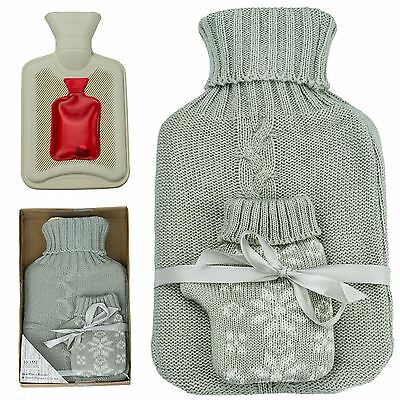 New Luxury Hand Warmer Hot Water Bottle Gift Set Warm Cosy Knitted Pouch Home