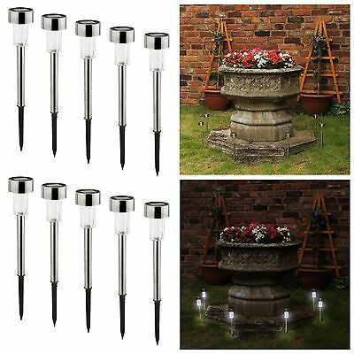 AMOS 10 x LED Lights Stainless Steel Solar Powered Post Stick Rechargeable