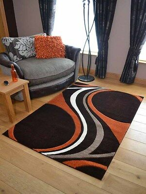 Lt Dark Brown Orange Carved Modern Soft Thick Rugs Small Extra Large Mats Cheap