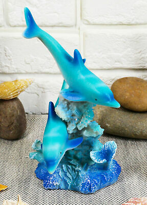 Two Lover Dolphins Swimming Around Tropical Coral Reef Figurine Ocean Dolphin