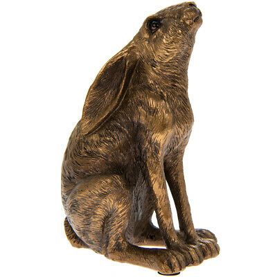 Small Moongazing Hare Sculpture Ornament in Bronze Finish Resin by Leonardo NEW
