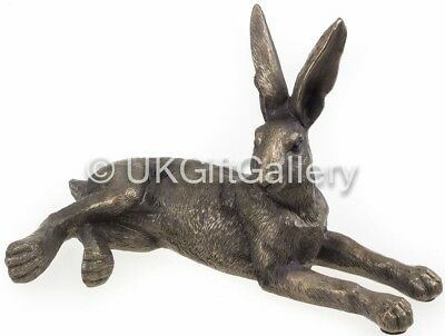 Small Laying Hare Sculpture Ornament in Bronze Finish Resin by Leonardo NEW