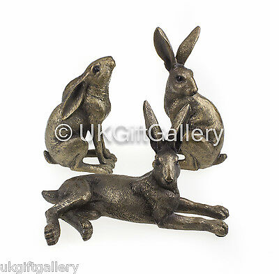 Set of 3 Hares Sculpture Hare Ornament in Bronze Finish Resin by Leonardo NEW IN