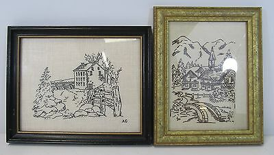 2 x Vintage Framed Needlework Samplers, 1 Village Scene 1 Mill By Water Scene