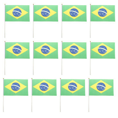 Brazilian Flag Brazil National Flags Hand Waving Banners w/ Flagpoles 12Pcs