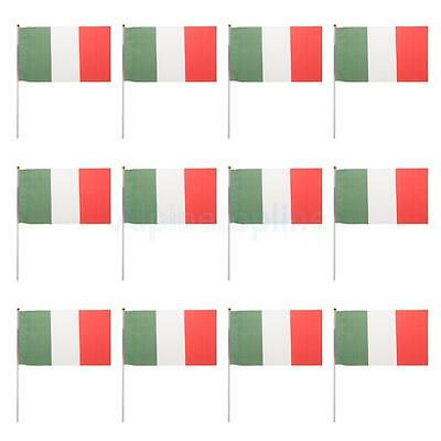 Italian Flag Italy National Flags Hand Waving Banners With Flagpoles 12Pcs