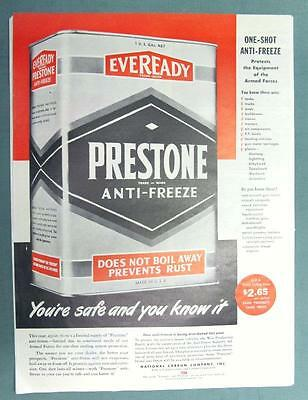Original 1945 Prestone Anti Freeze Ad YOU'RE SAFE AND YOU KNOW IT