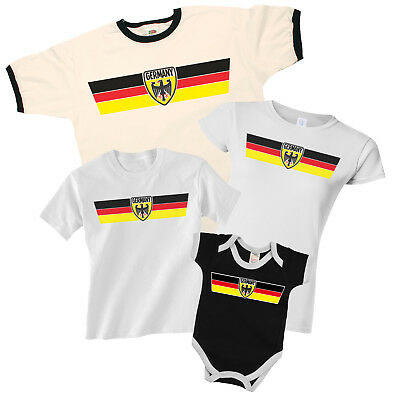GERMANY World CUP 2018 Retro Strip T-Shirt Football MENS LADIES KIDS BABY