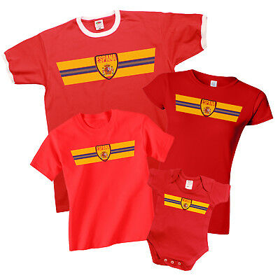 SPAIN ESPANA World CUP 2018 Retro Strip T-Shirt Football MENS LADIES KIDS BABY
